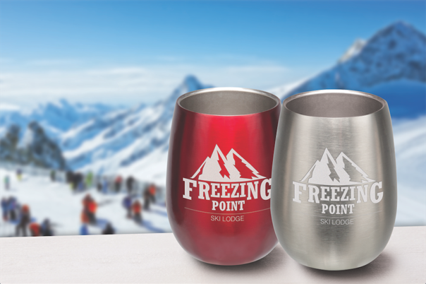 Stainless Steel Win Cup with mountain background